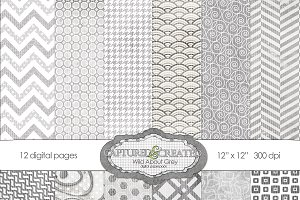 Wild About Grey Digital Paper Pack
