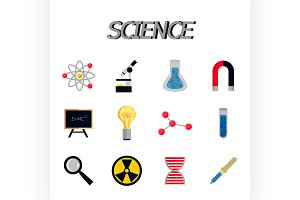 Science flat icon set