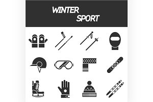 Winter sport icon set