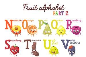 Fruit alphabet vector set