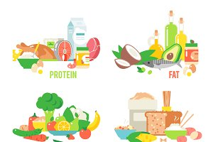 Food sources vector set