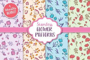 Seamless Vector Flower Patterns
