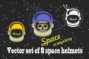 Vector set of space helmets
