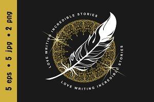 Emblem writer's feather