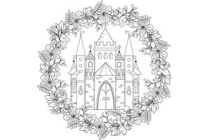 Coloring page with fairy castle