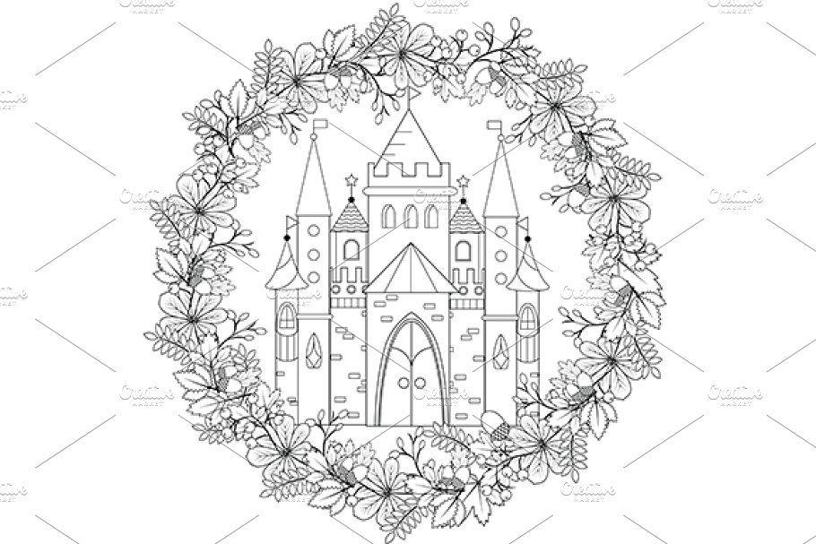 Coloring page with fairy castle | Custom-Designed ...