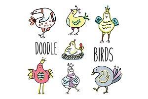 Doodle birds. Vector