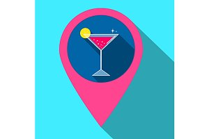 Icon with cocktail in gps style