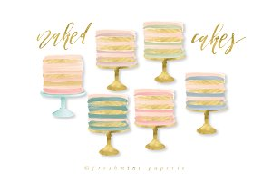 watercolor naked cake clipart