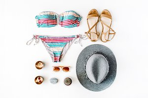 Feminine swimsuit and accessories