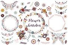 Butterfly, Flowers & Wreath Clipart