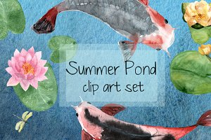 Summer Pond - Watercolor Clip Art