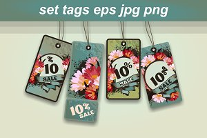 Set of retro sale tags