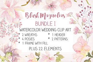 Watercolor wedding clip art bundle I