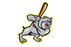 Bulldog Dog Baseball Hitter Batting