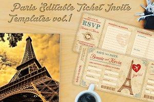 Paris Wedding Invite Tickets 1