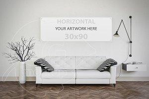Modern interior painting mockup