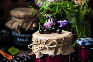 Homemade black currant curd