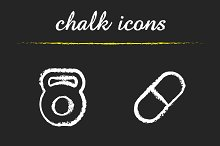 Sport and diet. 4 icons set. Vector