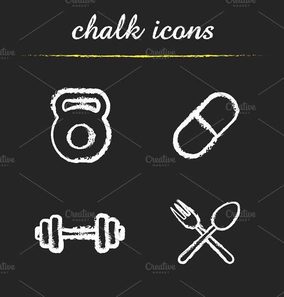 Sport and diet. 4 icons set. Vector - Icons