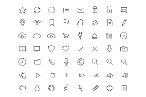 Digital. 56 icons. Vector