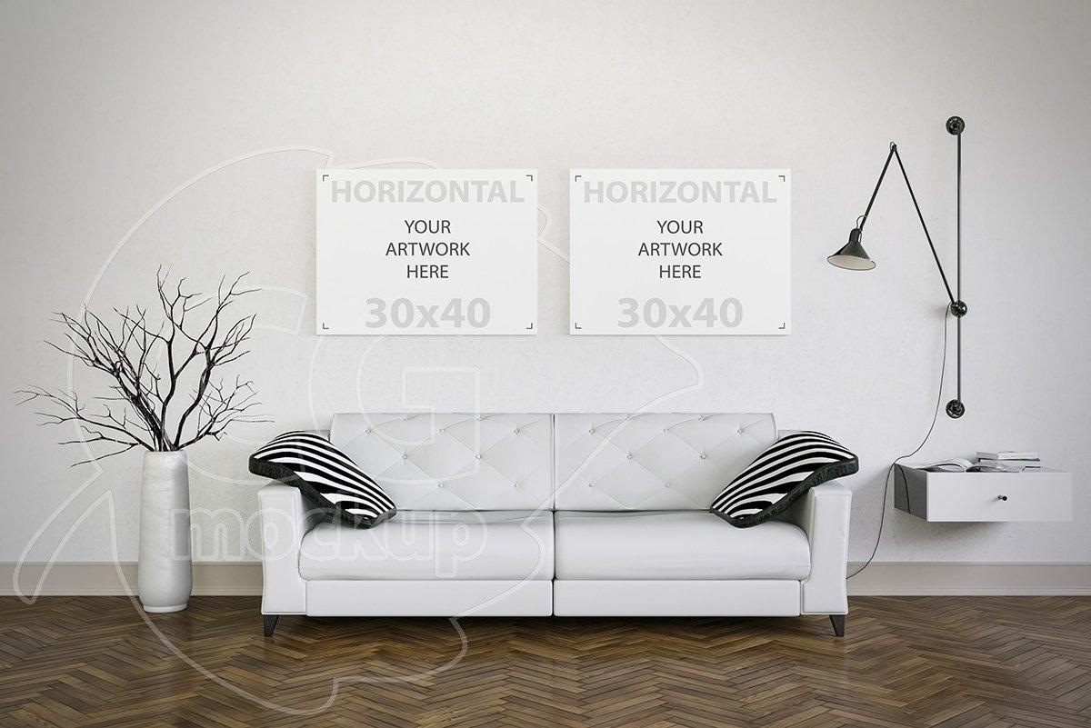 Set Of Two Canvas Mockup Living Room Print Mockups