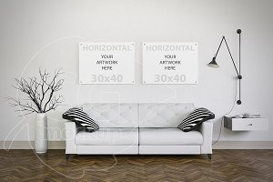 Set of two canvas mockup living room