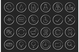 Medical. 24 icons. Vector