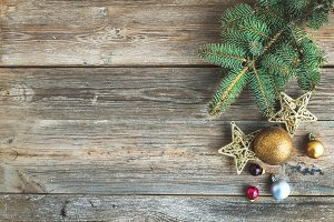 Christmas rustic wooden background