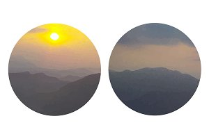 Mountains sunrise painting. Vector
