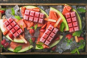 Watermelon strawberry popsicles