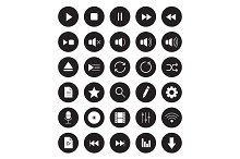 Multimedia. 30 icons. Vector