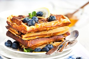 Lemon blueberry waffles