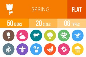 50 Spring Flat Round Icons