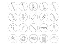 Stationery tools. 20 icons. Vector