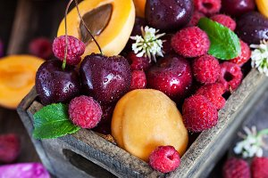 Fresh ripe summer fruits