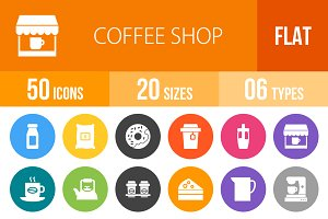50 Coffee Shop Flat Round Icons