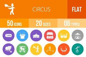 50 Circus Flat Round Icons