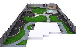 Suburb landscaping aerial