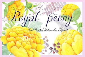 Watercolor Clipart - Royal Peony