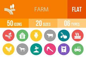 50 Farm Flat Round Icons
