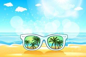 White Sunglasses summer vector