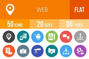 50 Web Flat Round Icons