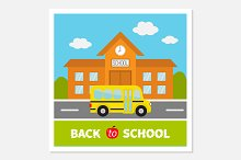 School building, bus