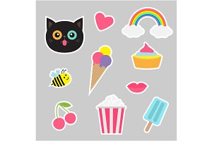 Quirky cartoon sticker patch set.
