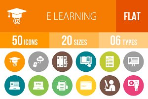 50 E Learning Flat Round Icons