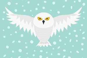 Snowy white owl. Flying bird