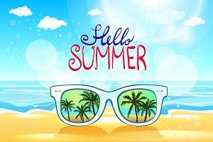 Vector summer sunglasses beach