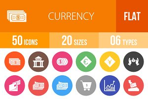 50 Currency Flat Round Icons