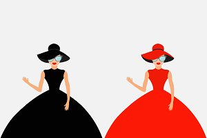 Woman in black and red dress, hat